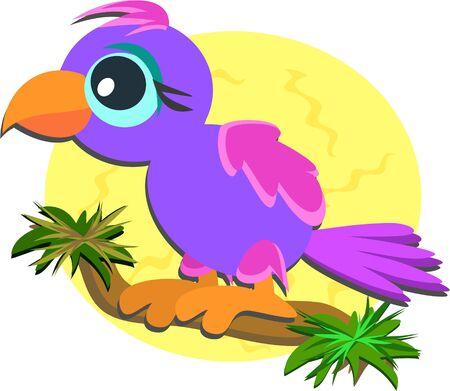 Cute Baby papegaai op een tak Stockfoto - 10894560