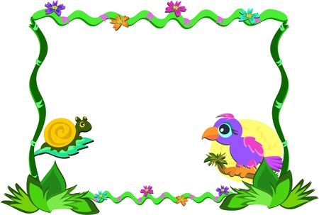 Frame of Nature, Parrot, and Snail Illustration