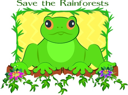 Save the Rainforest Frog Vector