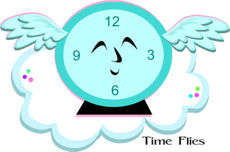 time fly: Time Flies Blue Clock Illustration