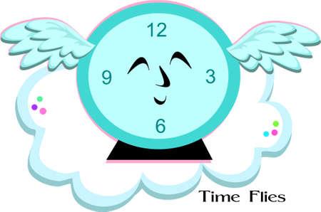 time flies: Time Flies Blue Clock Illustration