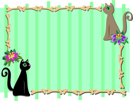 Frame with Cat Friends and Flowers Vector
