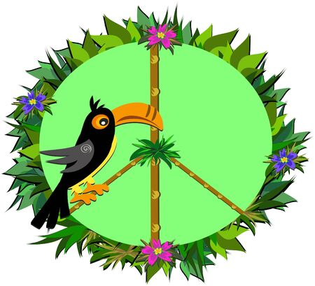 Tropical Toucan Peace Sign Vector