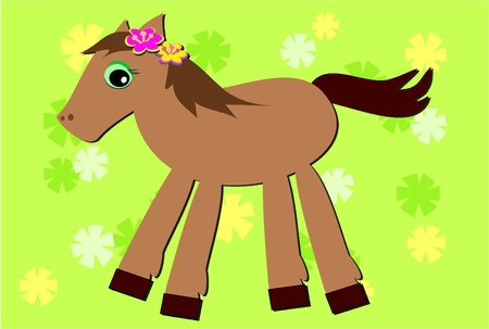 Romping Pony and Flower Background Vector