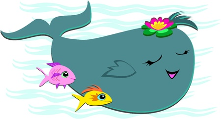 Happy Whale with 2 Fish Friends Stock Vector - 11094438