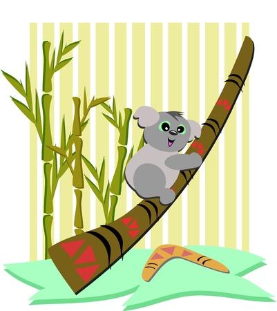 Koala Bear with a Didgeridoo and Boomerang Vector