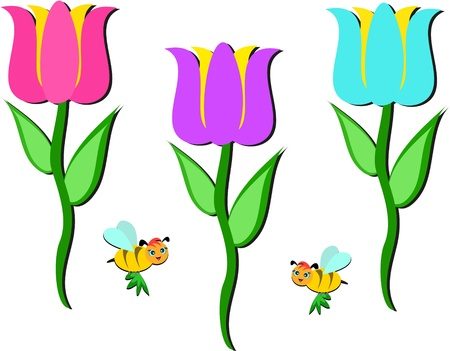Mix of Flowers and Bees Vector
