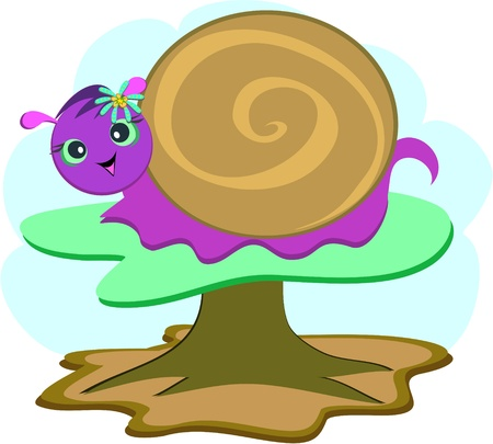 Purple Snail on a Mushroom Vector