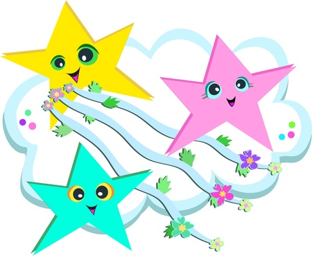 Star Stream of Ribbons and Flowers
