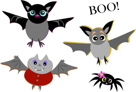 Mix of Cute Bats and Spider Vector