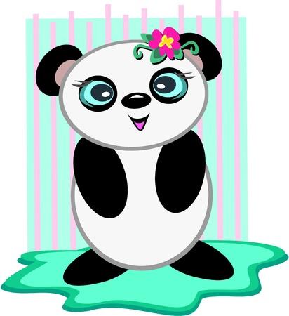 Panda Bear with a Flower Vector