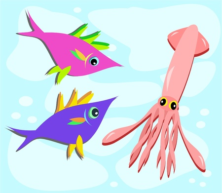 Two Fish and a Squid Stock Vector - 11222274