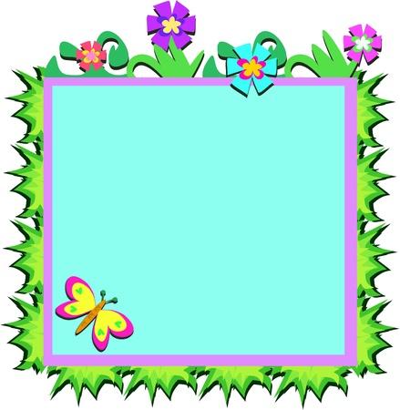 Cornice di piante, fiori e farfalle Archivio Fotografico - 11222301