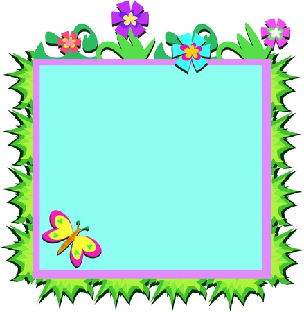 Frame of Plants, Flowers, and Butterfly Vector