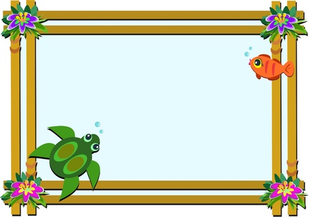 Wooden Frame with Flowers, Turtle, and Fish Vector