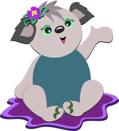 매트에 아기 코알라 곰