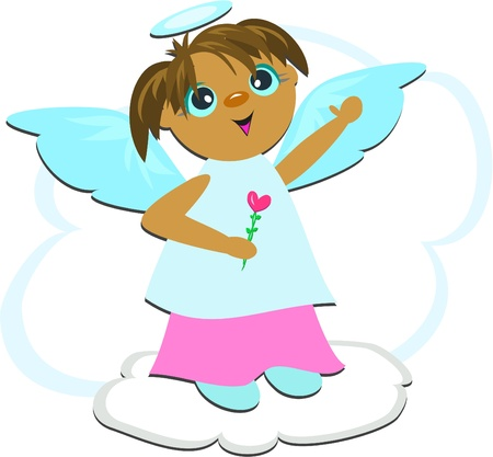 Angel Cloud with Heart Vector