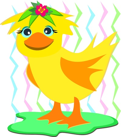 Duck with a Wig Stock Vector - 11222273