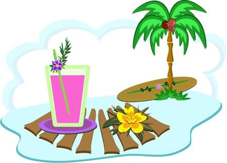 Tropical Island Drink and Palm Tree Иллюстрация