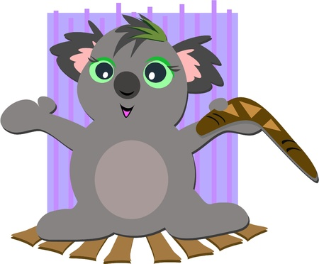 Koala Bear with Boomerang Illustration