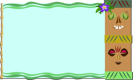 Frame with Tropical Tikis and Bamboo Vector