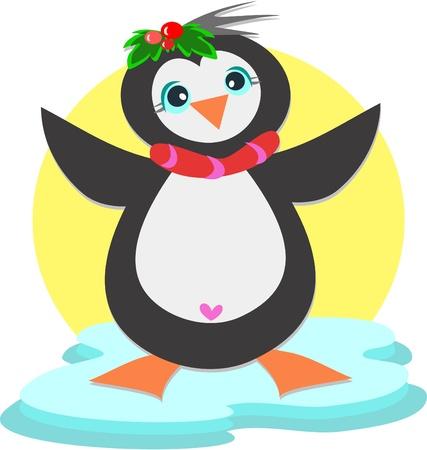 Pinguïn met Hart Stock Illustratie