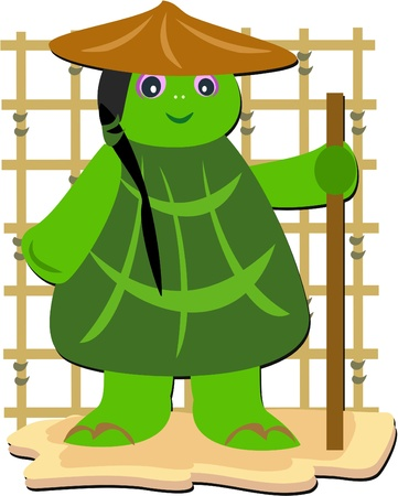 Turtle Monk with a Stick Vector