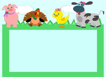 Frame with Farm Animals Vector
