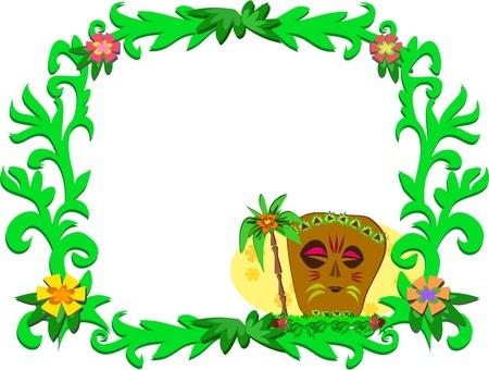 熱帯植物やティキのフレーム