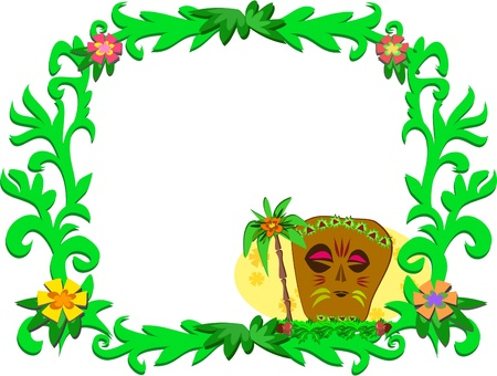Frame of Tropical Plants and Tiki Vector