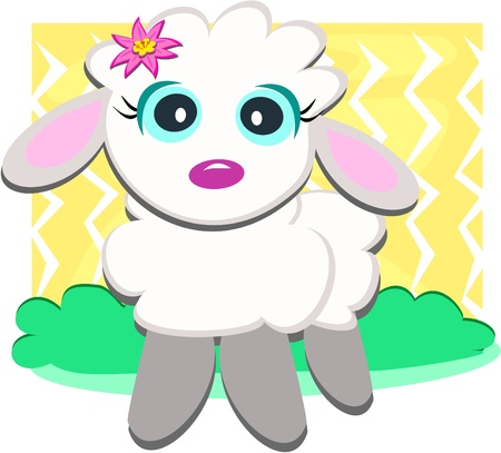 Cute Lamb with Flower Vector