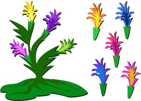 Mix van exotische bloemen Stock Illustratie