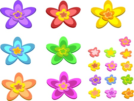 petal: Mix of 5 Pointed Flowers Illustration