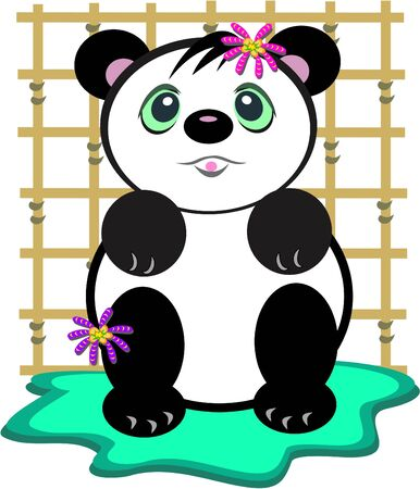 grid: Panda Bear with Bamboo Grid