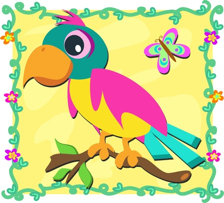 Frame with Parrot and Butterfly Vector