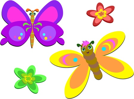 Two Cute Butterflies and Flowers