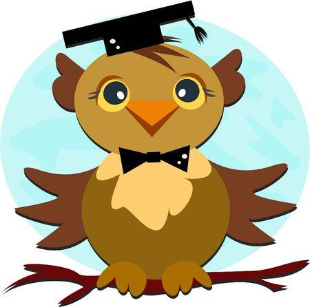 Owl Graduation Illustration