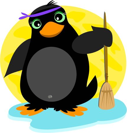 Penguin and Broom Stock Vector - 11275325
