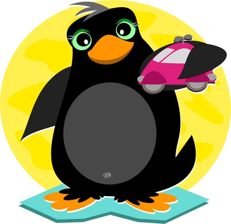 Penguin and Toy Car Illustration