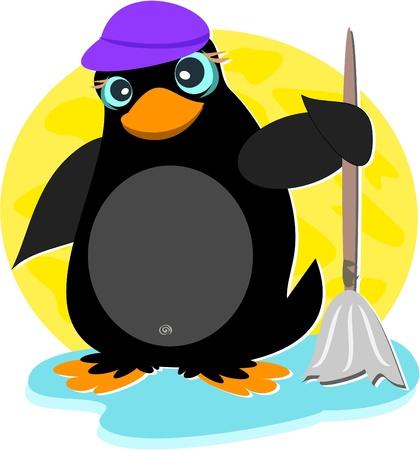 berg: Penguin with Mop