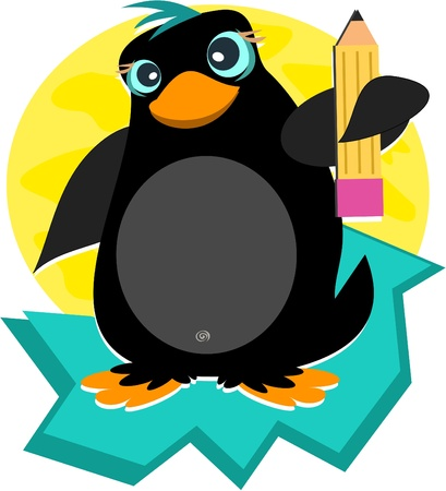 Penguin with Pencil Vector
