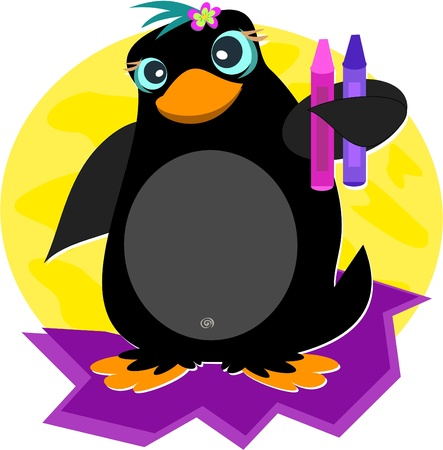 Cute Penguin with Crayons Stock Vector - 11275335