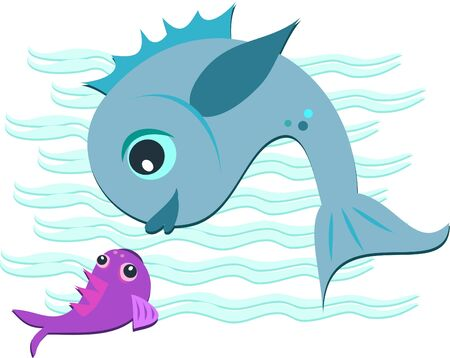 Mother and Baby Fish Vector