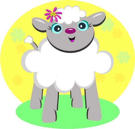 Sweet Lamb with a Flower