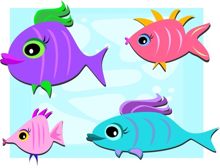 Mix of Cute Fish Vector