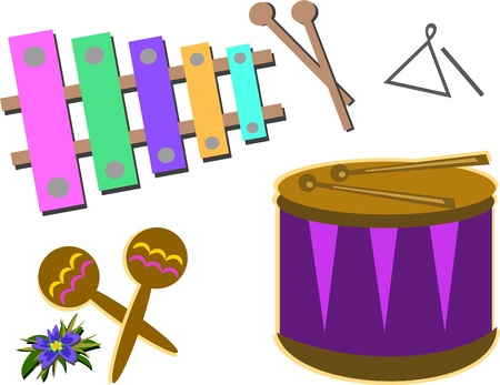 triangle musical instrument: Mix of Percussion Instruments Illustration