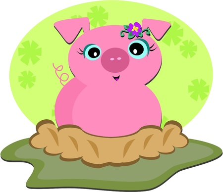 Pig in a Ditch Stock Vector - 11275345