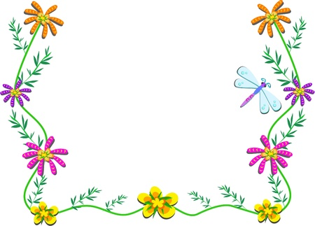 Frame with Flowers, Vines, and Dragonfly Vector