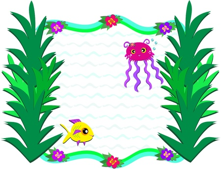 Frame of Marine Life and Plants Vector