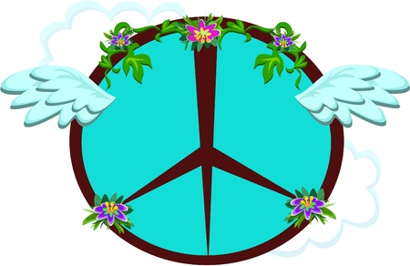 Peace Sign with Wings and Flowers Stock Vector - 11275357